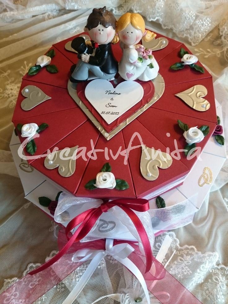 Hochzeitstorte 2-stöckig Bordeaux-Creme-CreativAnita