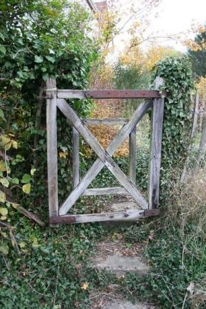 Rustic Garden Gate On Riverside At Eynsford, UK. U201c
