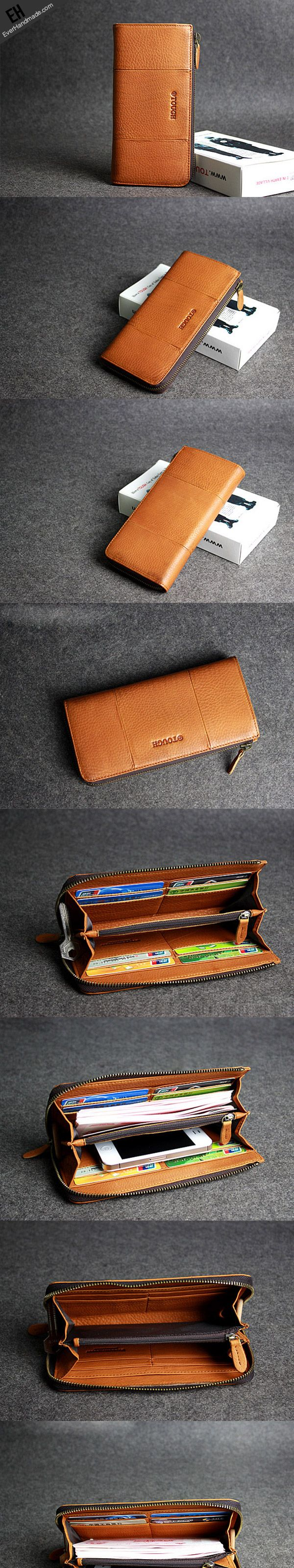 Handmade leather men clutch brown vintage zip clutch men long wallet p | EverHandmade