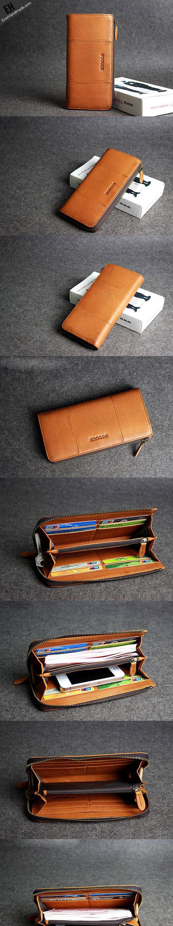 Handmade leather men clutch brown vintage zip clutch men long wallet p | EverHandmade
