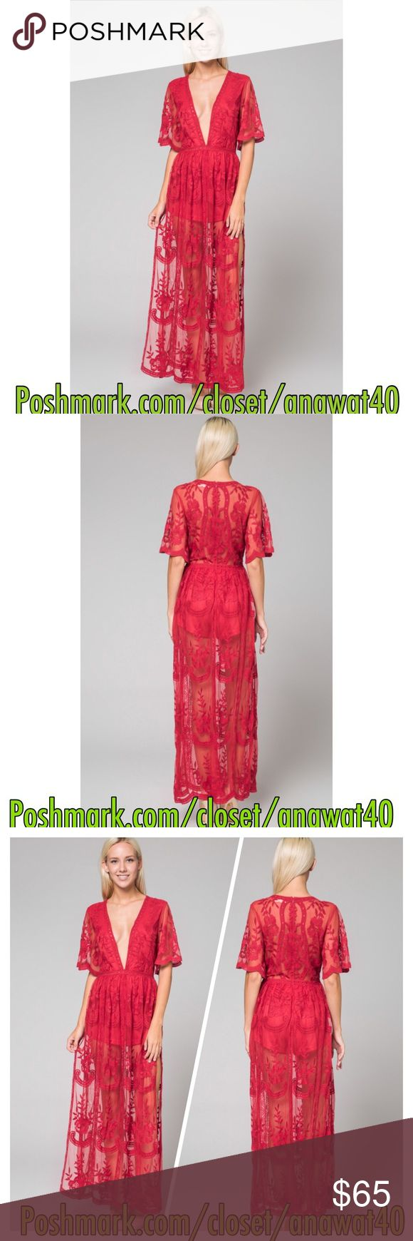 Jolie Embroidered Lace Maxi Dress Let your wings and soar in this blu beauty. Featuring a sheer back and flutter sleeves, plunging neckline, and lined shorts, this maxi is breath taking with our belts, messy locks, and booties.   Polyester/Rayon Color: Red Runs true to size  Model is wearing a size small Dresses Maxi