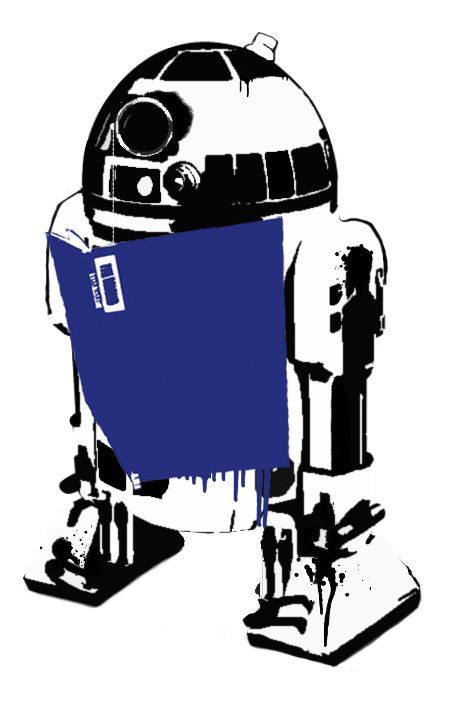 """R2D2 Reads"" stencil for Star Wars Reads Day #SWRD 