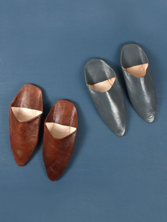 Men's Pointed Leather Babouche Slippers by LoveBohemians on Etsy