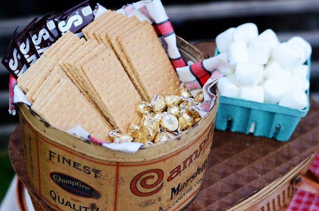 a vintage-inspired backyard birthday barbecue - vintage campfire marshmallows tin