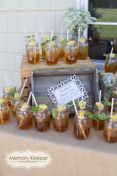 Sweet tea served in Mason jars makes a great bridal shower punch for Southerners shower guests. See more bridal shower punch and party ideas at www.on…