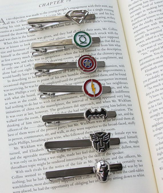 Super Hero Tie Clip  12 Styles superman captain by DashwoodShop, $10.49