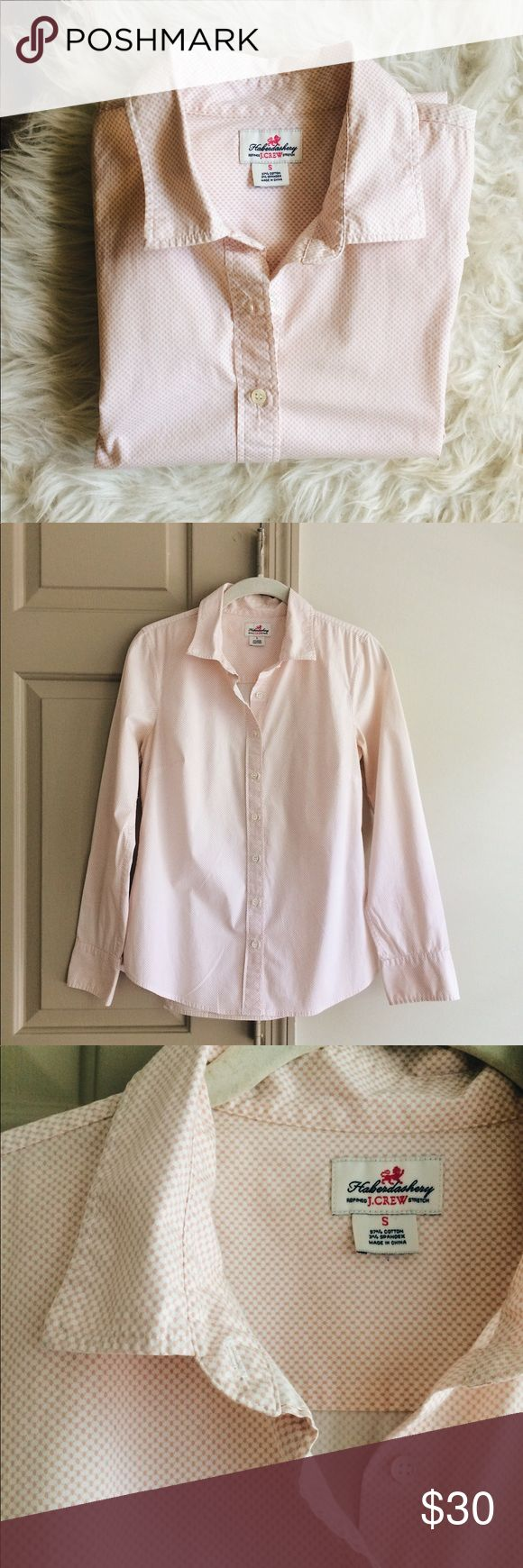 J. Crew Blush Pink Haberdashery Oxford Shirt Collared, button up. Sleeves button and roll up well. Well-fitted (flattering for women) oxford. Slight wear in underarms, but not noticeable when worn. From the Haberdashery by J.Crew. J. Crew Tops Button Down Shirts