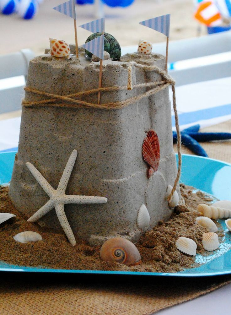 Beach Theme centerpiece idea Kids table. This would be cute as centerpiece a for each table!