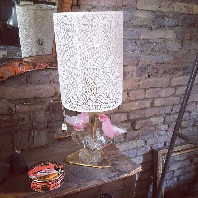 Moving vintage lamps from my favorite office in #lot29 to the shop #bohohabits #come and have a look at the new lampshades, so cool #rikkemai #storiesbyrikkemai #flamboyantinterieur #vintagelampshades #laceshades #muranoglassbirdlamp