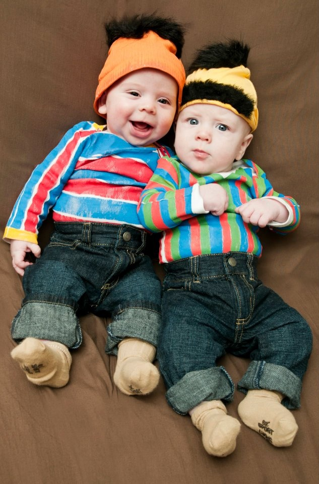Bert and Ernie costumes, crafted for my cousin Kelly's boys
