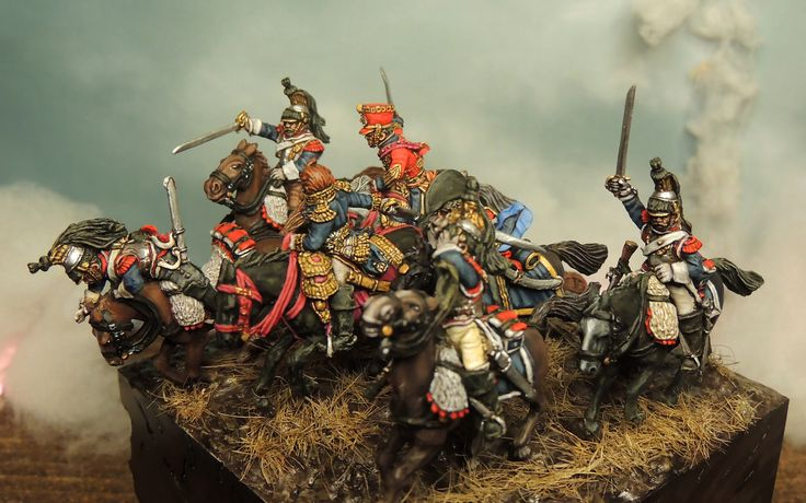 Ney commands the heavy cavarly chage. Miniatures of Perry Bros painted by Francesco Thau.