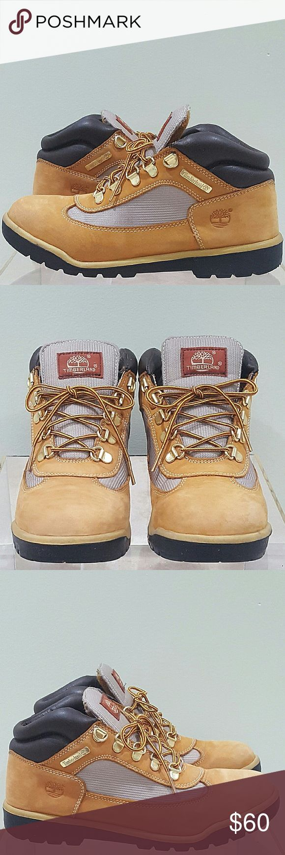 Timberland Field Boots Timberland Field Boots in the Color Wheat. Great Condition! Genuine leather, man-made lining and outsole. Waterproof, so perfect for outdoor activities. Size is boys US 6.5 but fits Women's 7.5-8! Timberland Shoes Lace Up Boots