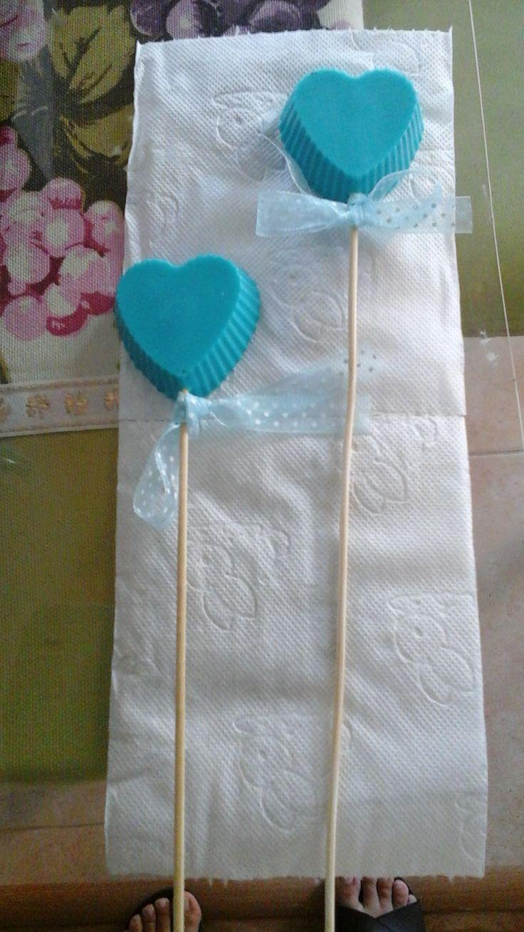 Mavi, bebek pudra kokulu  doğumgünü için hazırlanmış sabunlar