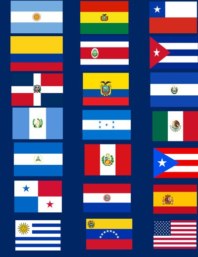 "The flags of the 19 Spanish-speaking Latin American countries plus ""father"" Spain and the good ol' U.S. of A. which is representative of the SECOND LARGEST Spanish-speaking country in the world (after Mexico) and it's U.S. Latino/Hispanic community scattered from Nueva York to Los Angeles…Chicago to Miami… Tejas, Nuevo Mexico, Arizona and ALL the rest… Viva la Raza!"