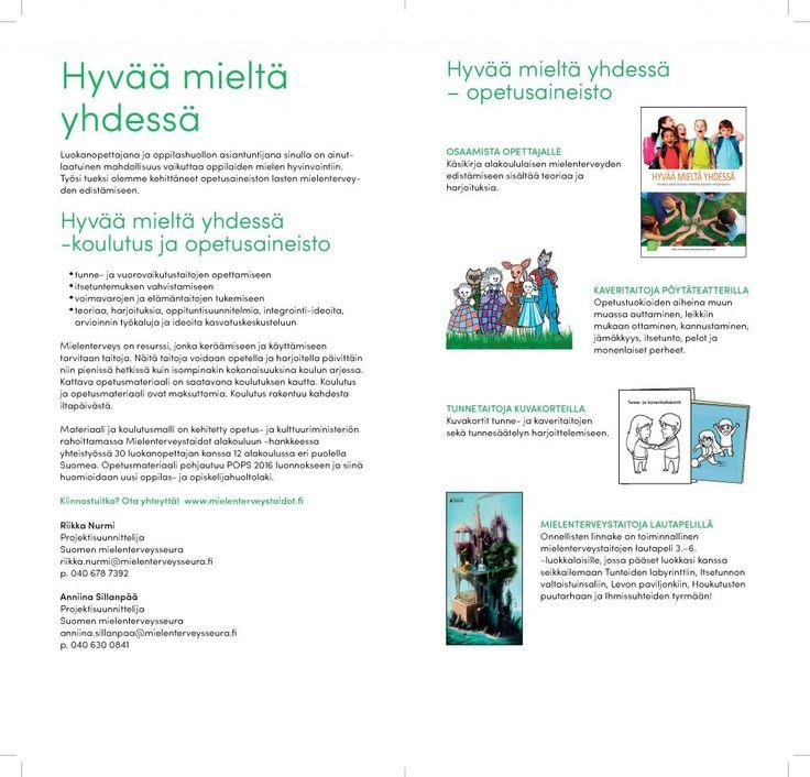 Hyvää mieltä yhdessä -koulutus alakoulun opettajille | Suomen Mielenterveysseura