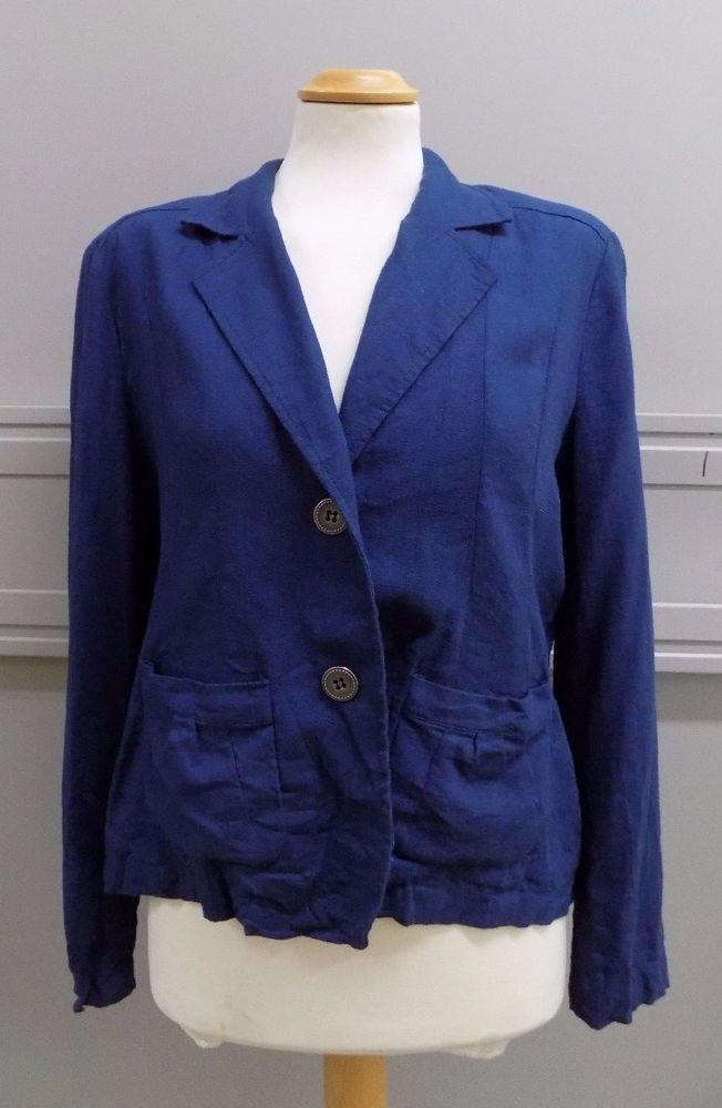 Ladies Blue Linen Blazer Jacket by Klass Petite Size 16 UK