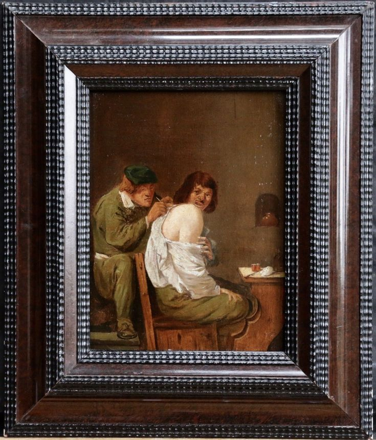 19thC OIL ON PANEL - MAN BEING TREATED BY PHYSICIAN -19th century pr possibly earlier oil on panel depicting a man, possibly with a skin disorder, being treated by a physician; with other medical instruments on a small table to the right. The patient's expression suggests evident pain and discomfort.Dutch or Flemish.