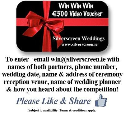 Win a €500 voucher from Silverscreen Weddings  To enter, simply email win@silverscreen.ie with name of both partners, wedding date, name & address of ceremony/reception venue, wedding planner, contact number and how you heard about the competition, best of luck! conditions apply