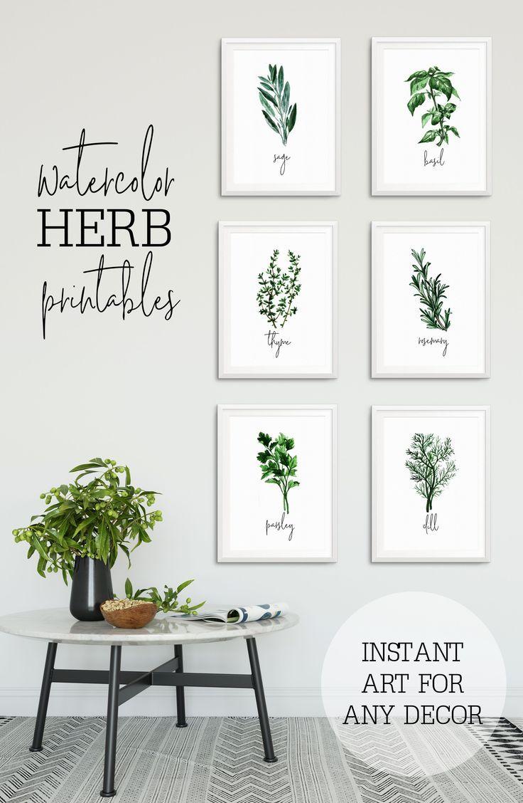 Herb Prints For Kitchen   Watercolor Herb Prints   herb ...