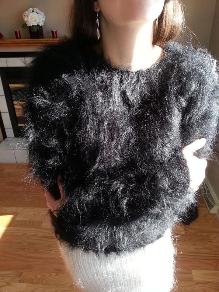 "Oh Yeah 80 Mohair Sweater 44"" Handmade Furry Large XL | eBay"
