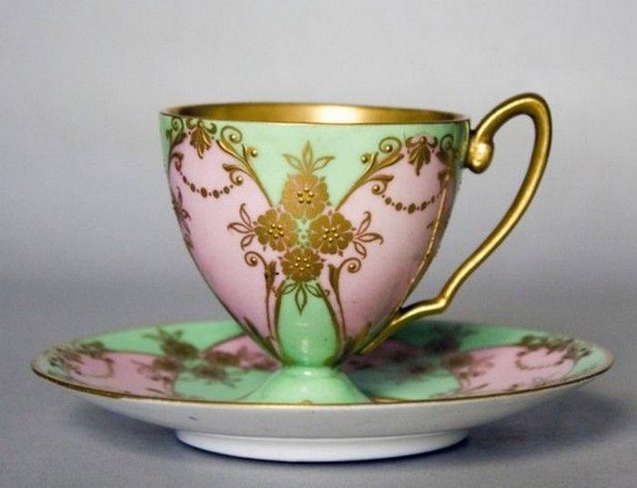 Royal Worcester Aspreys (UK) — Cup and Saucer, c.1930s.