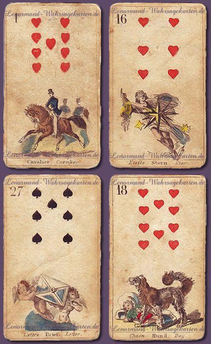 Antike französische Lenormandkarten von 1865