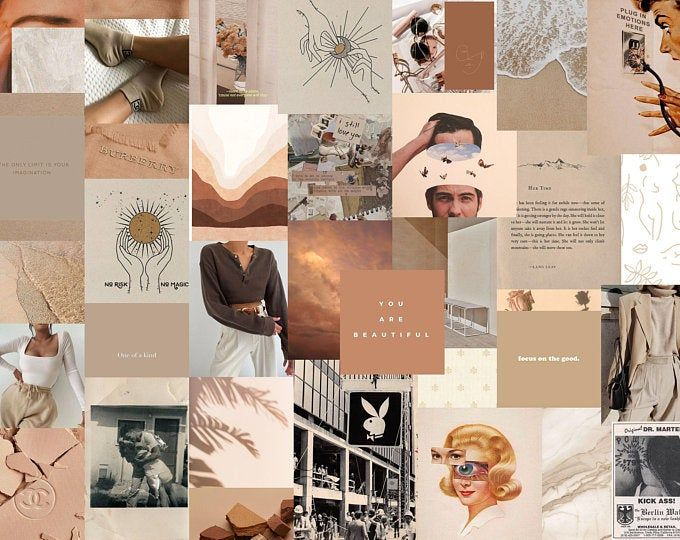 neutral 100pcs collage kit beige collage kit printable