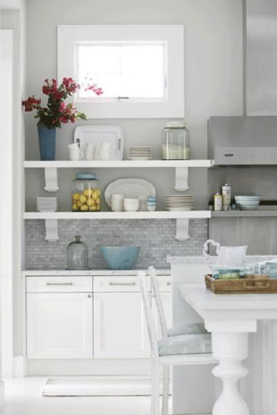 Paint InspirationBacksplash Tile, Back Splashes, Kitchens Shelves, Kitchen Shelves, Open Shelves, Subway Tile, Kitchens Ideas, Open Shelving, White Kitchens