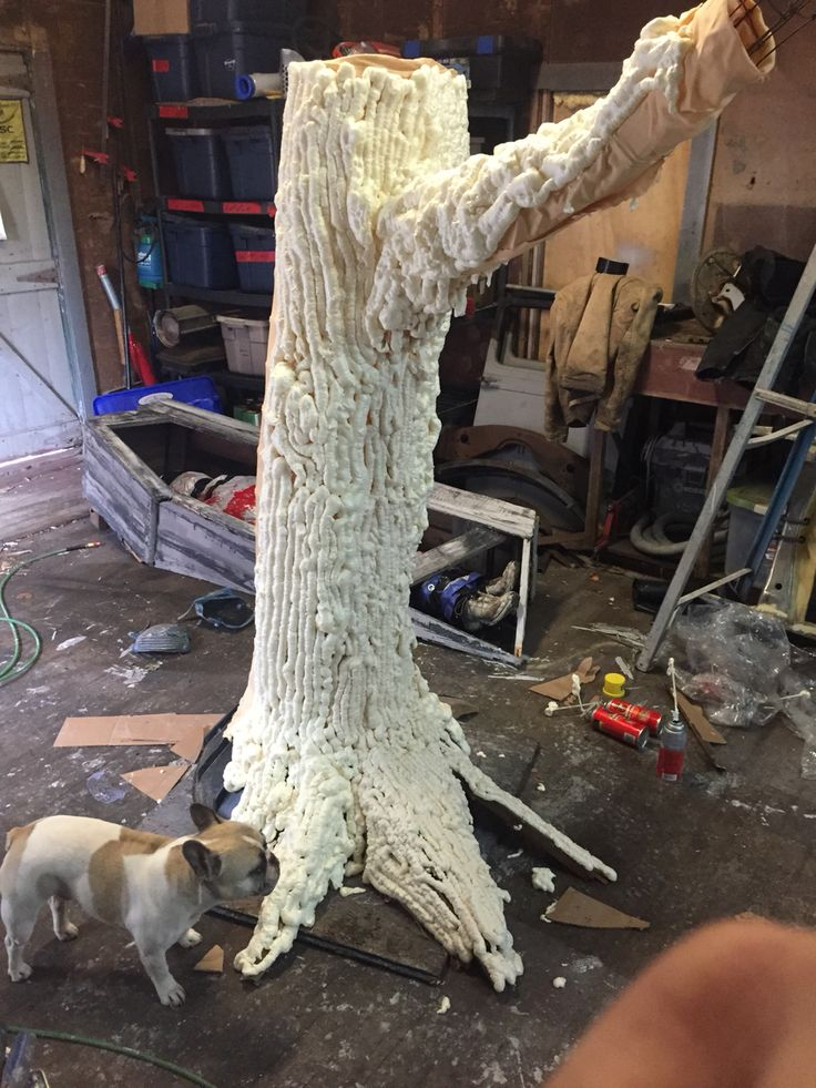 15 best halloween tree diy made from random materials around my yard another angle of the spray foam insulation on the frame and bed sheet its looking solutioingenieria