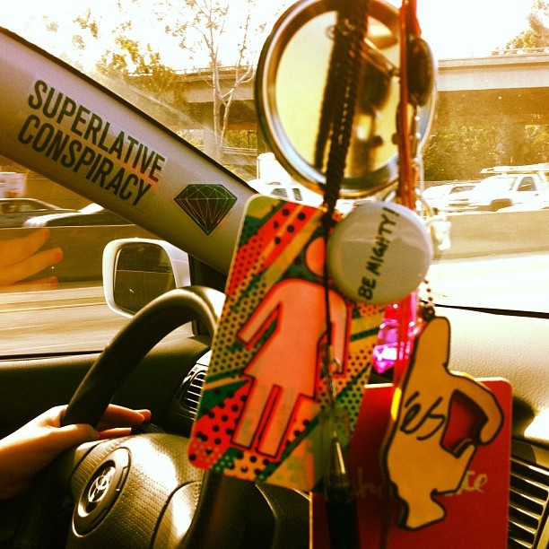 @turkeyncheese finally got her car back. Check out her #Swagged out Rear view mirror chain. #Girl #GirlSkateboards #ChocoLAte #Es #EsFootwear #BeMighty #DiamondLife #SuperlativeConspiracy #Toyota