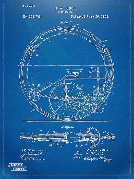 Monocycle Patent Artwork 1894  - Nikki Marie Smith  #Steampunk