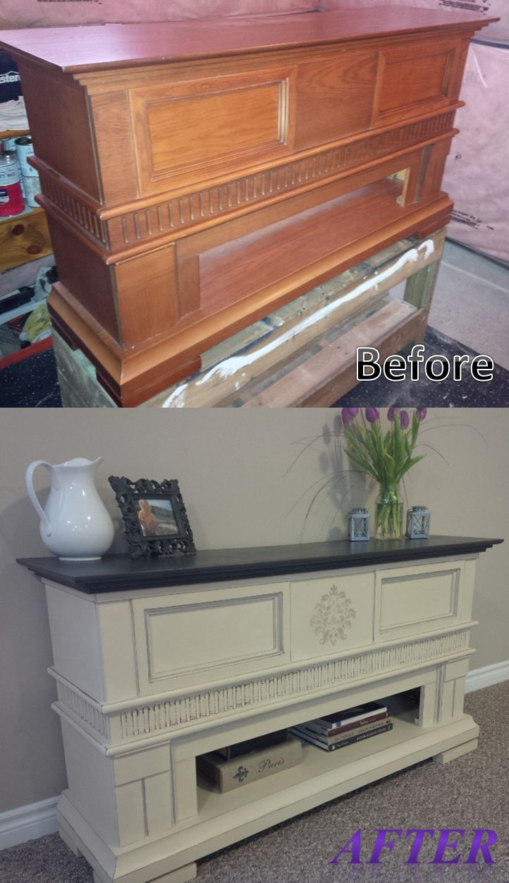 Fireplace Mantle Turned Side Table Before And After