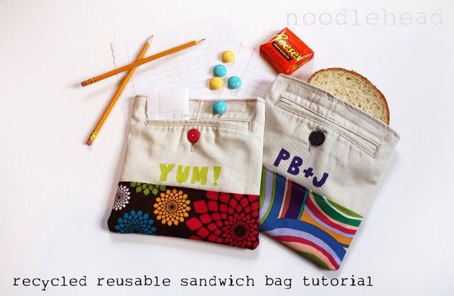 noodlehead: tutorial: recycled reusable sandwich bag