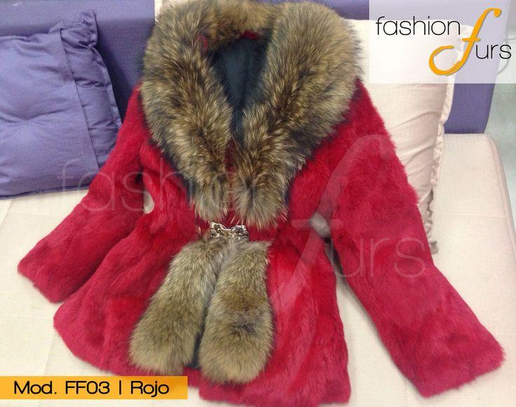MOD FF03 ROJO    ABRIGO DE PIEL DE CONEJO CON RACCON ventas@fashionfurs.com.mx