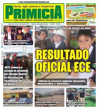 Diario Primicia Huancayo 11/04/17  Diario Primicia Huancayo Edicion Impresa 11/04/17