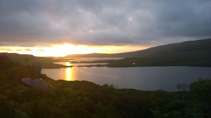 Sunset over Loch Lurgainn looking over Loch Bad na h-Achlaise to Loch Bad a'Ghaill