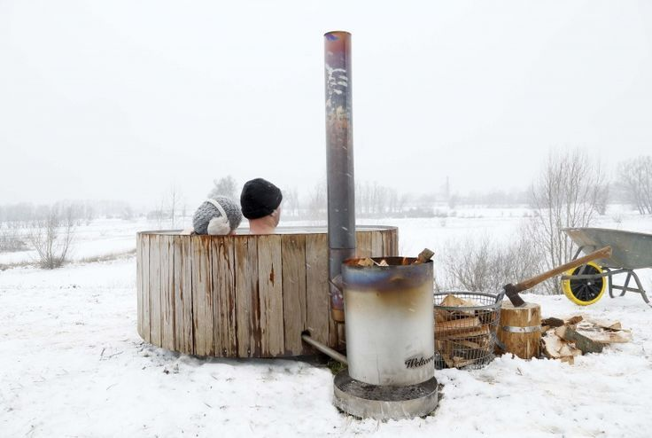 Hottub heated by wood burning stove-genius