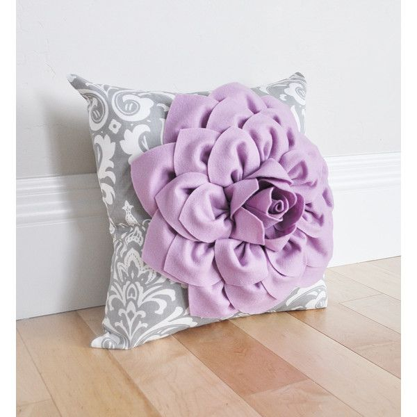 Damask Nursery Pillow Lilac Purple Dahlia Flower On Gray And White 35