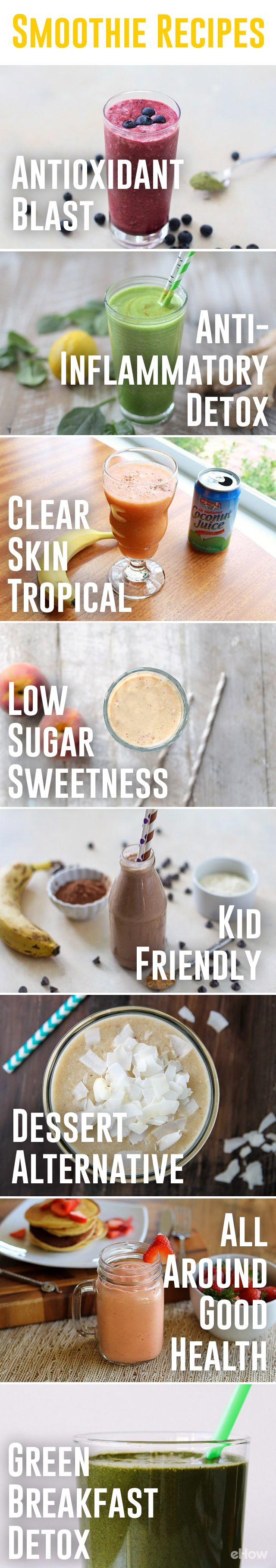 Smoothies for every occasion!  Check otu with combos are best for clear skin, antioxidants, anti-inflammatory detox , kid-friendly and more! All recipes here: http://www.ehow.com/how_2217514_make-smoothies.html?utm_source=pinterest.com&utm_medium=referral&utm_content=curated&utm_campaign=fanpage