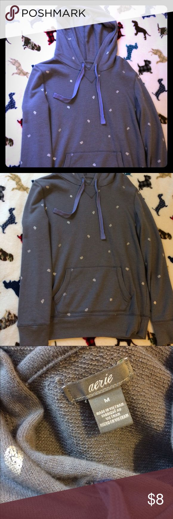 Aerie Polka Dot Hoodie Soft and warm polka dot hoodie! Worn once or twice, perfect condition! Light blue with silver polka dots! aerie Tops Sweatshirts & Hoodies