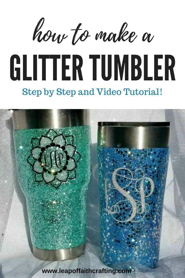 Learn how to Make a Glitter Tumbler with Epoxy!  DIY Glitter Stainless Steel Mug Tutorial with step by step directions and a video tutorial!