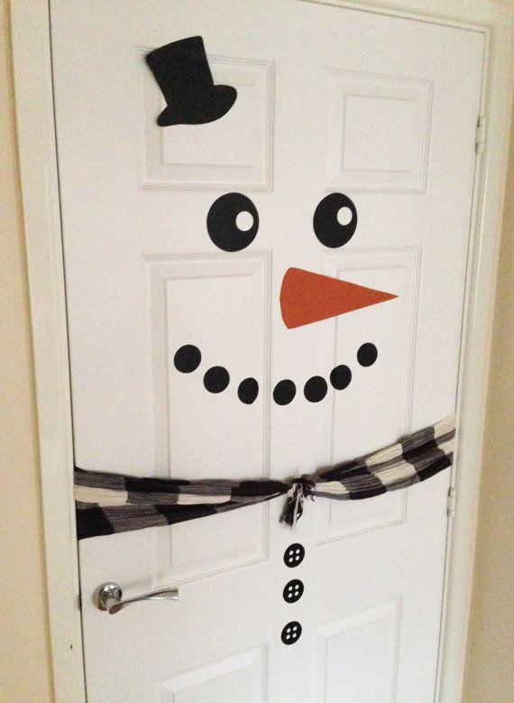 Snowman Door  // Christmas Door Decal // Xmas Decoration // Snowman Fridge