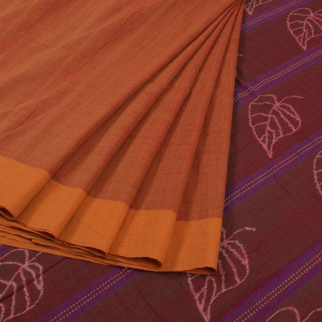 Buy online Handwoven Orange Ikat Cotton Saree With Leaf Motifs 10013949