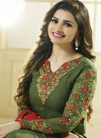 The Prachi Desai Collection:atisundar marvelous Green Designer Embroidered Straight Cut Suits In Faux Georgette - 9593 - atisundar - 2