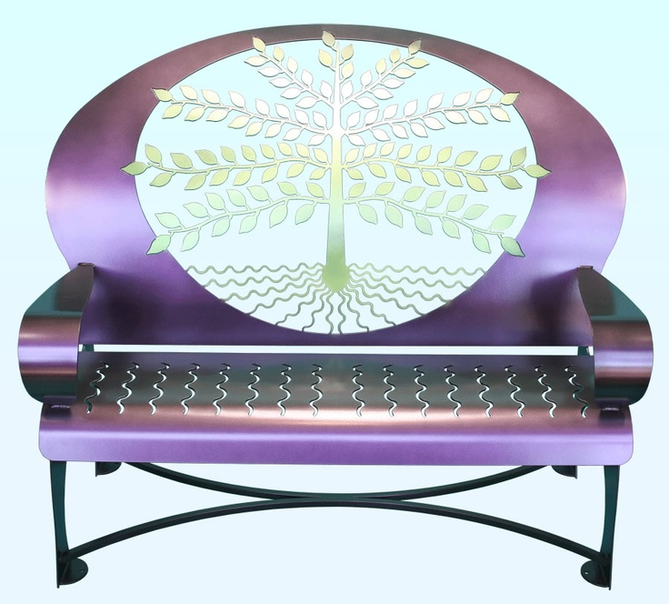 Tree of Life Purple Outdoor Steel Bench ... I love this