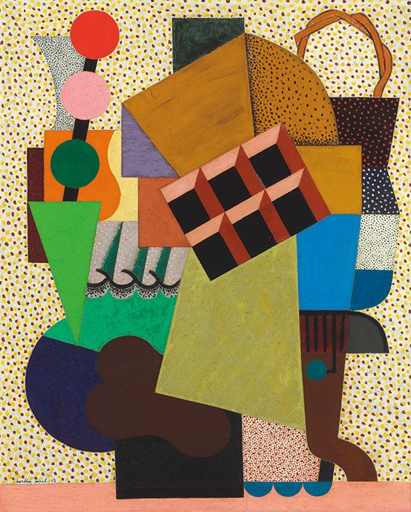 Auguste Herbin (1882-1960), Composition aux trois boules, 1917. Signed and dated 'Herbin avril 17' (lower left). oil on canvas. 32⅛ x 25 3/4 in (81.5 x 65.5 cm.) Estimate: €400,000-600,000. This work is offered in the Art Moderne sale at Christie's Paris on 22-23 October