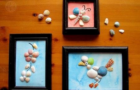 Estimula la creatividad y la conciencia de reciclado de tus peques, haciendo todo tipo de figuras con conchas de varias clases que podemos encontrar en las playas.