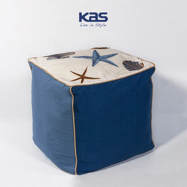 Head for the #beach! The #Seashells #Pouf brings the shoreline into your #home. http://kasrugs.com/product/details/POUF81018SQ #ColorWithKAS #Decorating