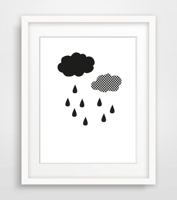 Printable Black White Nursery Print, Instant Download Scandinavian Poster, Minimalist Nursery Wall Art, Digital Raindrop Kids Room Art Print