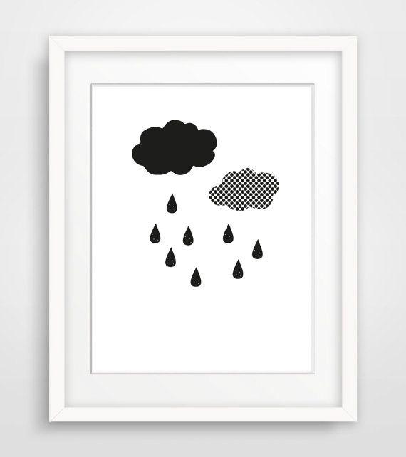 Printable Black White Nursery Print, Instant Download Scandinavian Poster, Minimalist Nursery Wall Art, Digital Raindrop Kids Room Art Print
